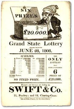 Lottery Handbill issued by Swift & Co, 1808